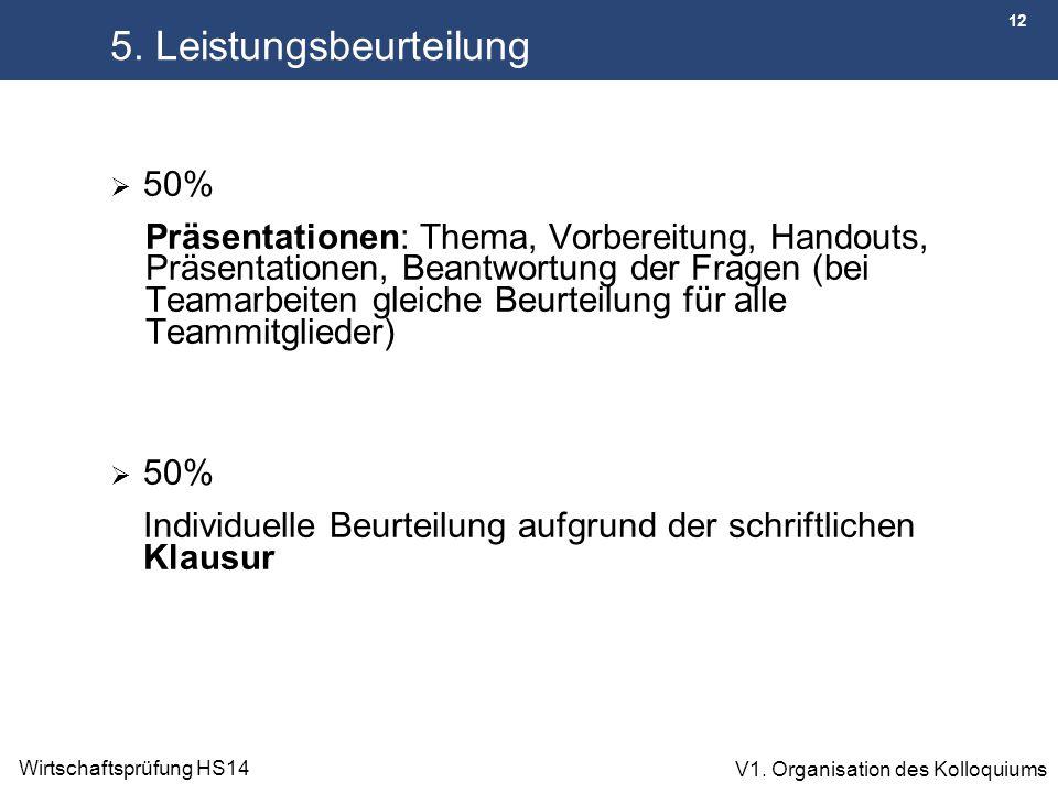12 Wirtschaftsprüfung HS14 V1. Organisation des Kolloquiums 5. Leistungsbeurteilung  50% Präsentationen: Thema, Vorbereitung, Handouts, Präsentatione