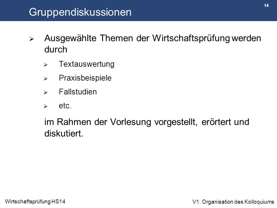 14 Wirtschaftsprüfung HS14 V1. Organisation des Kolloquiums Gruppendiskussionen  Ausgewählte Themen der Wirtschaftsprüfung werden durch  Textauswert