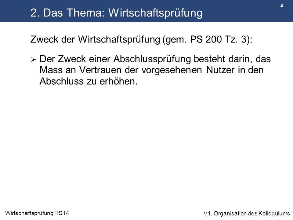 4 Wirtschaftsprüfung HS14 V1. Organisation des Kolloquiums 2. Das Thema: Wirtschaftsprüfung Zweck der Wirtschaftsprüfung (gem. PS 200 Tz. 3):  Der Zw