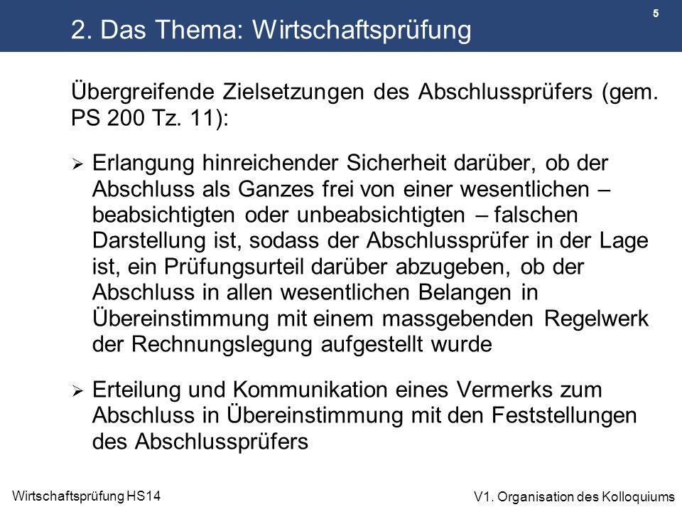 6 Wirtschaftsprüfung HS14 V1.Organisation des Kolloquiums 2.