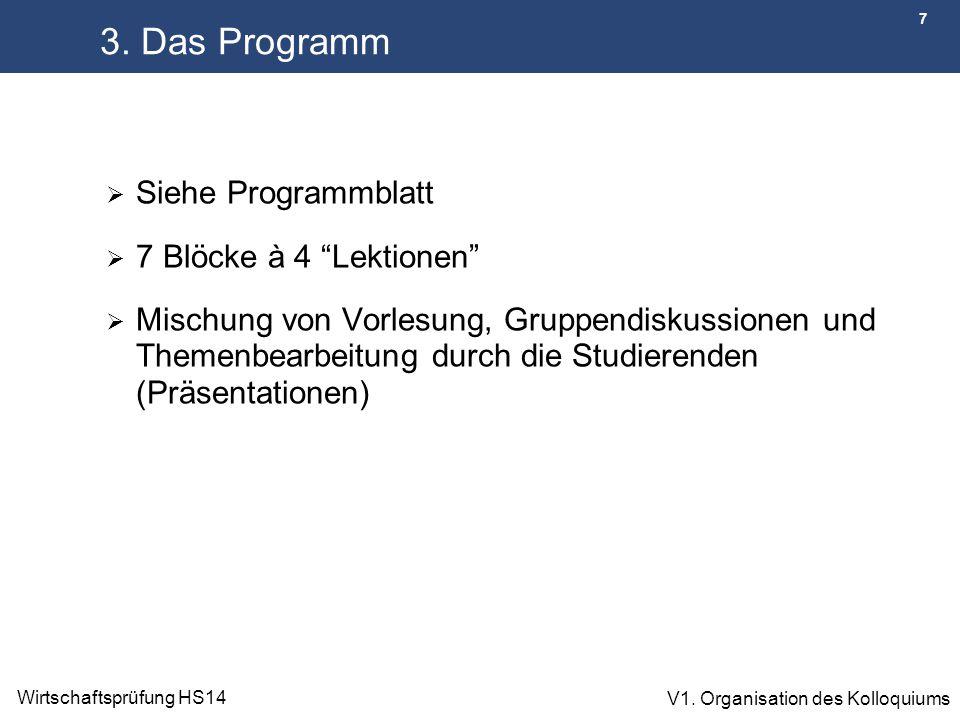 """7 Wirtschaftsprüfung HS14 V1. Organisation des Kolloquiums 3. Das Programm  Siehe Programmblatt  7 Blöcke à 4 """"Lektionen""""  Mischung von Vorlesung,"""