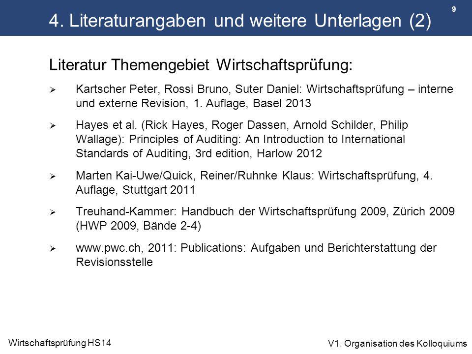 9 Wirtschaftsprüfung HS14 V1. Organisation des Kolloquiums 4. Literaturangaben und weitere Unterlagen (2) Literatur Themengebiet Wirtschaftsprüfung: 