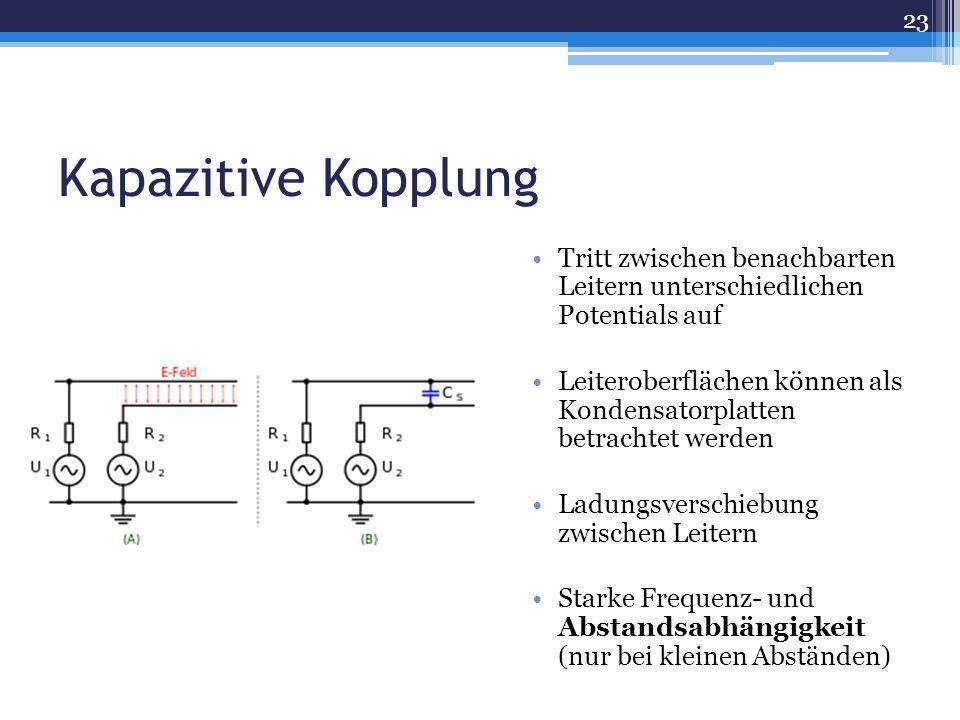 Kapazitive Kopplung Tritt zwischen benachbarten Leitern unterschiedlichen Potentials auf Leiteroberflächen können als Kondensatorplatten betrachtet werden Ladungsverschiebung zwischen Leitern Starke Frequenz- und Abstandsabhängigkeit (nur bei kleinen Abständen) 23