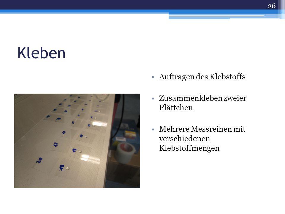 Kleben Auftragen des Klebstoffs Zusammenkleben zweier Plättchen Mehrere Messreihen mit verschiedenen Klebstoffmengen 26