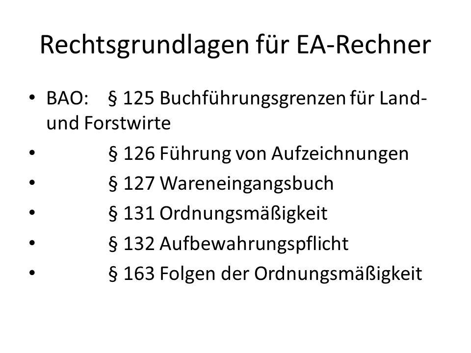 Rechtsgrundlagen für EA-Rechner BAO: § 125 Buchführungsgrenzen für Land- und Forstwirte § 126 Führung von Aufzeichnungen § 127 Wareneingangsbuch § 131 Ordnungsmäßigkeit § 132 Aufbewahrungspflicht § 163 Folgen der Ordnungsmäßigkeit