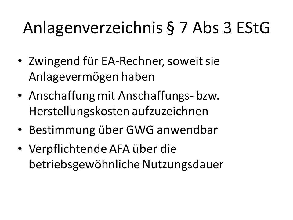 Anlagenverzeichnis § 7 Abs 3 EStG Zwingend für EA-Rechner, soweit sie Anlagevermögen haben Anschaffung mit Anschaffungs- bzw.