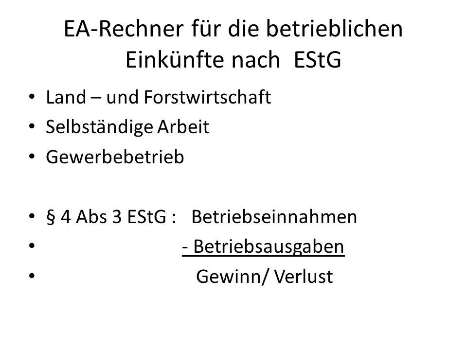 EA-Rechner für die betrieblichen Einkünfte nach EStG Land – und Forstwirtschaft Selbständige Arbeit Gewerbebetrieb § 4 Abs 3 EStG : Betriebseinnahmen - Betriebsausgaben Gewinn/ Verlust
