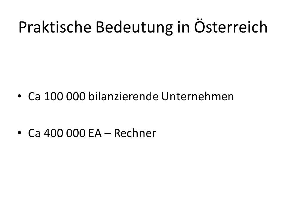 Praktische Bedeutung in Österreich Ca 100 000 bilanzierende Unternehmen Ca 400 000 EA – Rechner