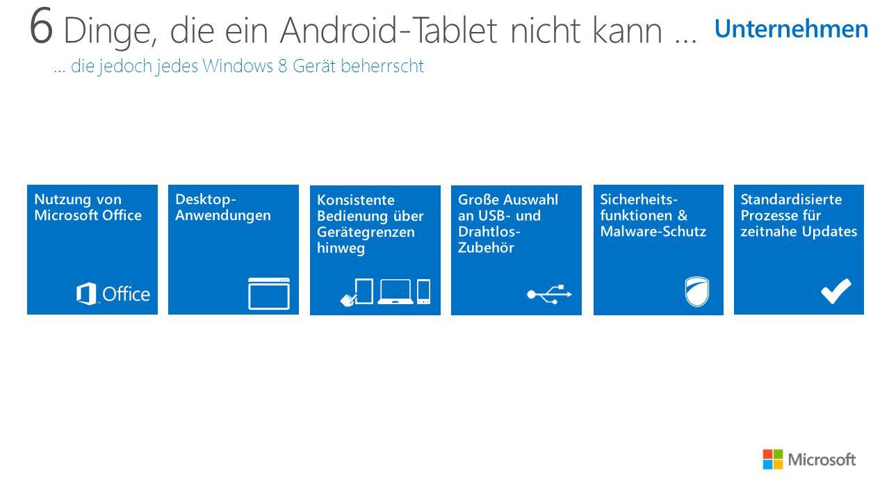 6 Dinge, die ein Android-Tablet nicht kann … … die jedoch jedes Windows 8 Gerät beherrscht Unternehmen