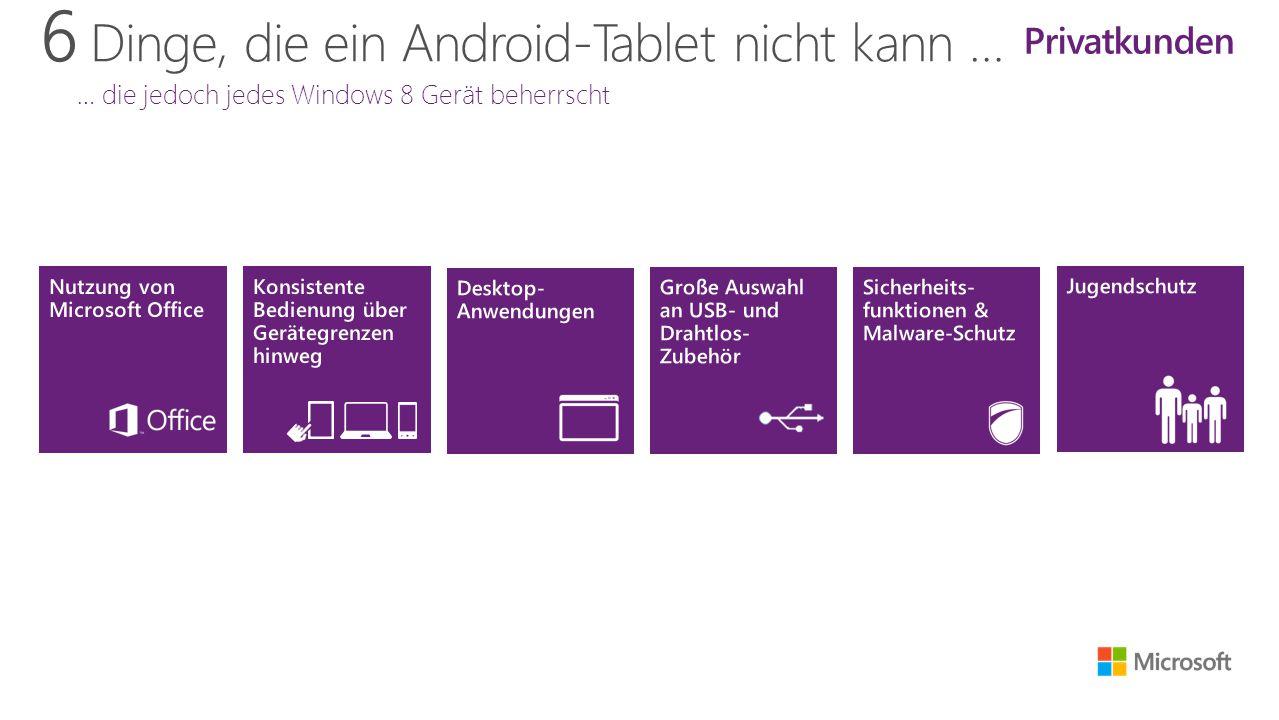 6 Dinge, die ein Android-Tablet nicht kann … … die jedoch jedes Windows 8 Gerät beherrscht Privatkunden