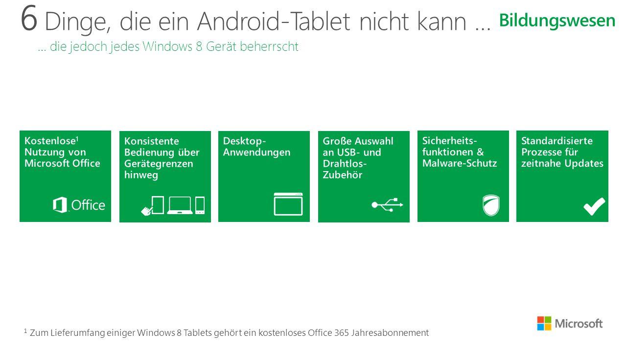 6 Dinge, die ein Android-Tablet nicht kann … … die jedoch jedes Windows 8 Gerät beherrscht Bildungswesen 1 Zum Lieferumfang einiger Windows 8 Tablets gehört ein kostenloses Office 365 Jahresabonnement