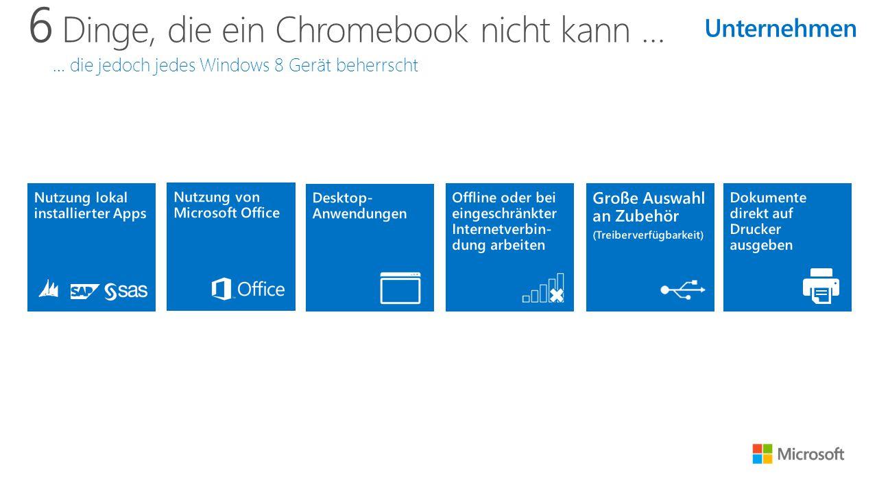 6 Dinge, die ein Chromebook nicht kann … … die jedoch jedes Windows 8 Gerät beherrscht Unternehmen