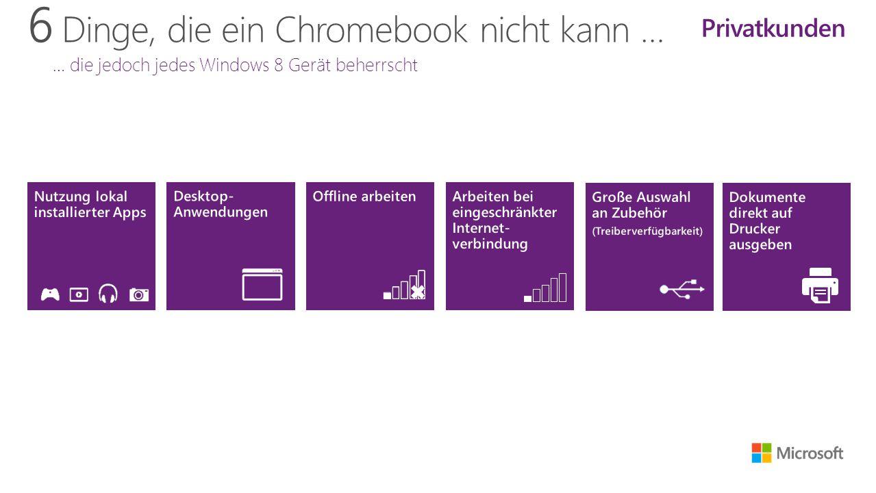 6 Dinge, die ein Chromebook nicht kann … … die jedoch jedes Windows 8 Gerät beherrscht Privatkunden