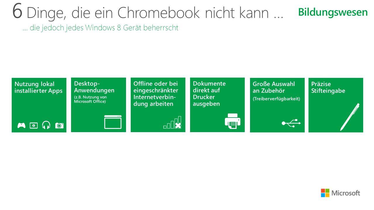 6 Dinge, die ein Chromebook nicht kann … … die jedoch jedes Windows 8 Gerät beherrscht Bildungswesen