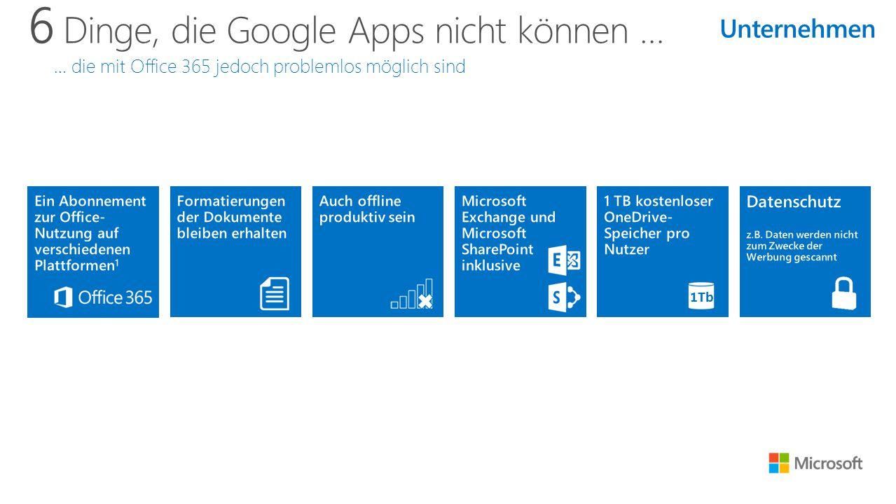 6 Dinge, die Google Apps nicht können … … die mit Office 365 jedoch problemlos möglich sind 1Tb Unternehmen
