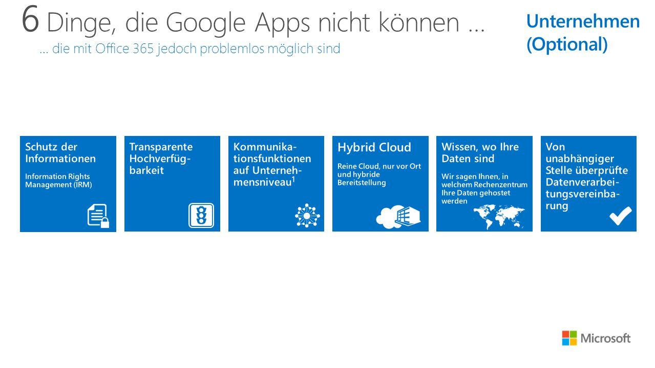 6 Dinge, die Google Apps nicht können … … die mit Office 365 jedoch problemlos möglich sind Unternehmen (Optional)