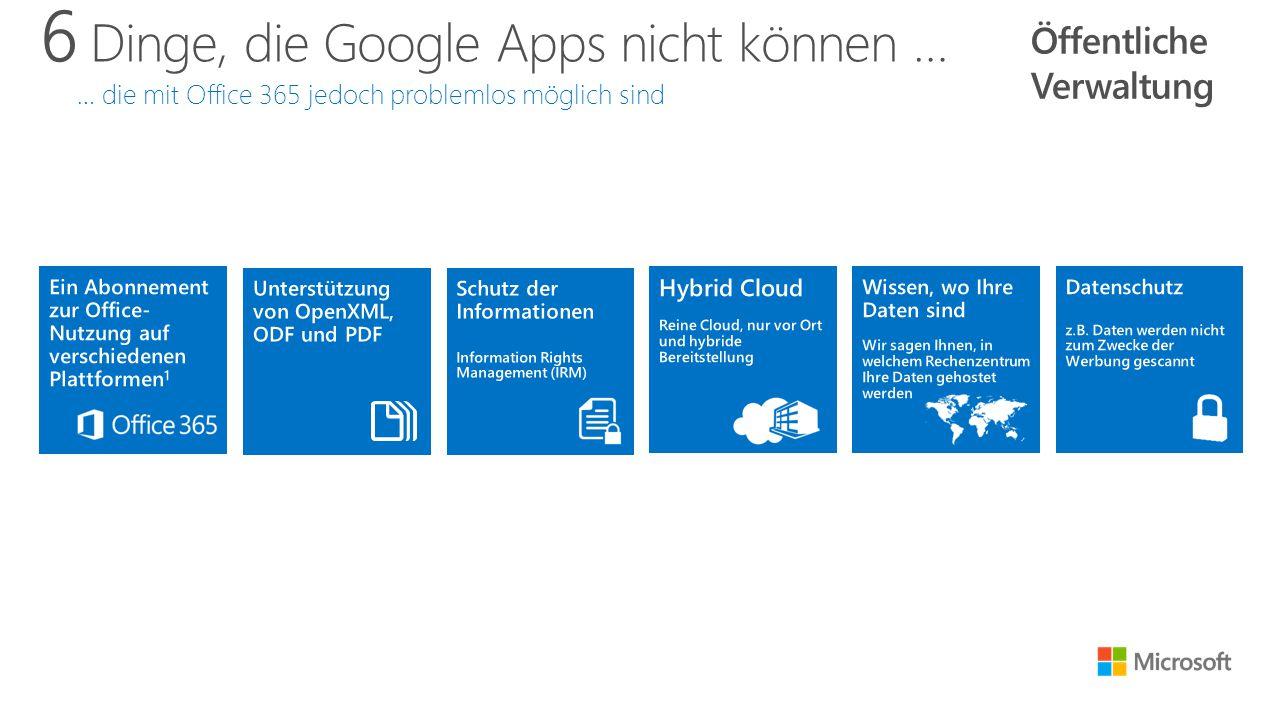 6 Dinge, die Google Apps nicht können … … die mit Office 365 jedoch problemlos möglich sind Öffentliche Verwaltung