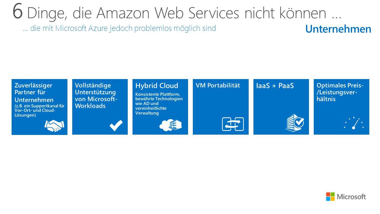 6 Dinge, die Amazon Web Services nicht können … … die mit Microsoft Azure jedoch problemlos möglich sind Unternehmen