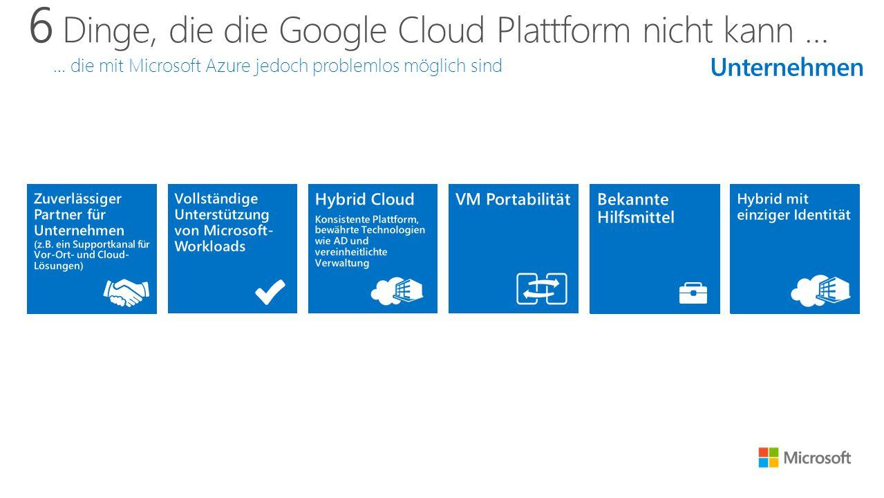 6 Dinge, die die Google Cloud Plattform nicht kann … … die mit Microsoft Azure jedoch problemlos möglich sind Unternehmen