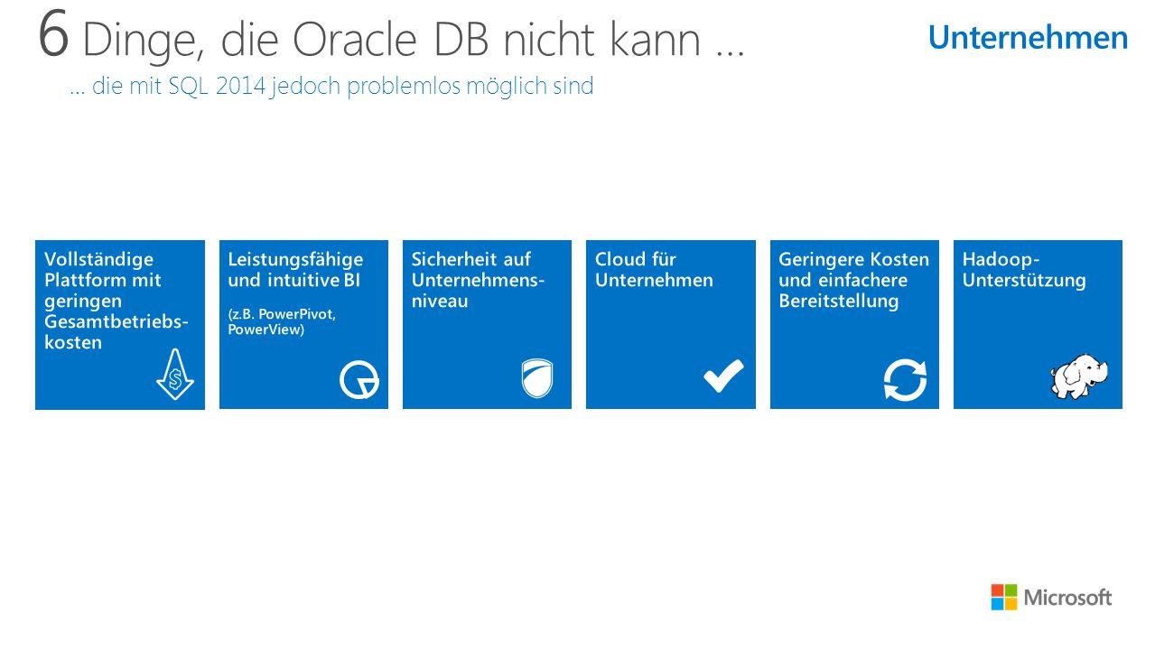 6 Dinge, die Oracle DB nicht kann … … die mit SQL 2014 jedoch problemlos möglich sind Unternehmen
