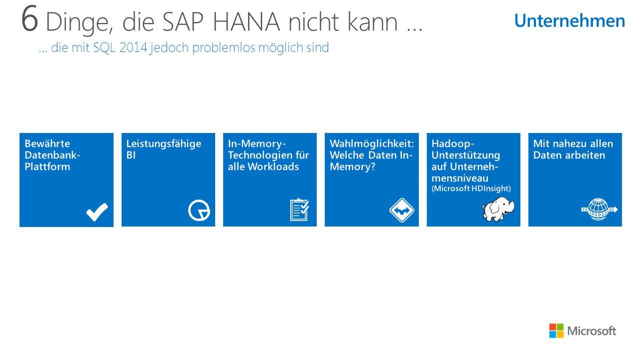 6 Dinge, die SAP HANA nicht kann … … die mit SQL 2014 jedoch problemlos möglich sind Unternehmen