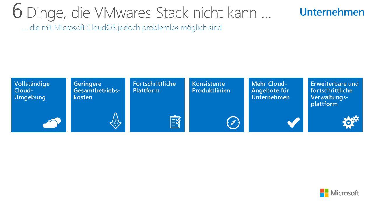 6 Dinge, die VMwares Stack nicht kann … … die mit Microsoft CloudOS jedoch problemlos möglich sind Unternehmen