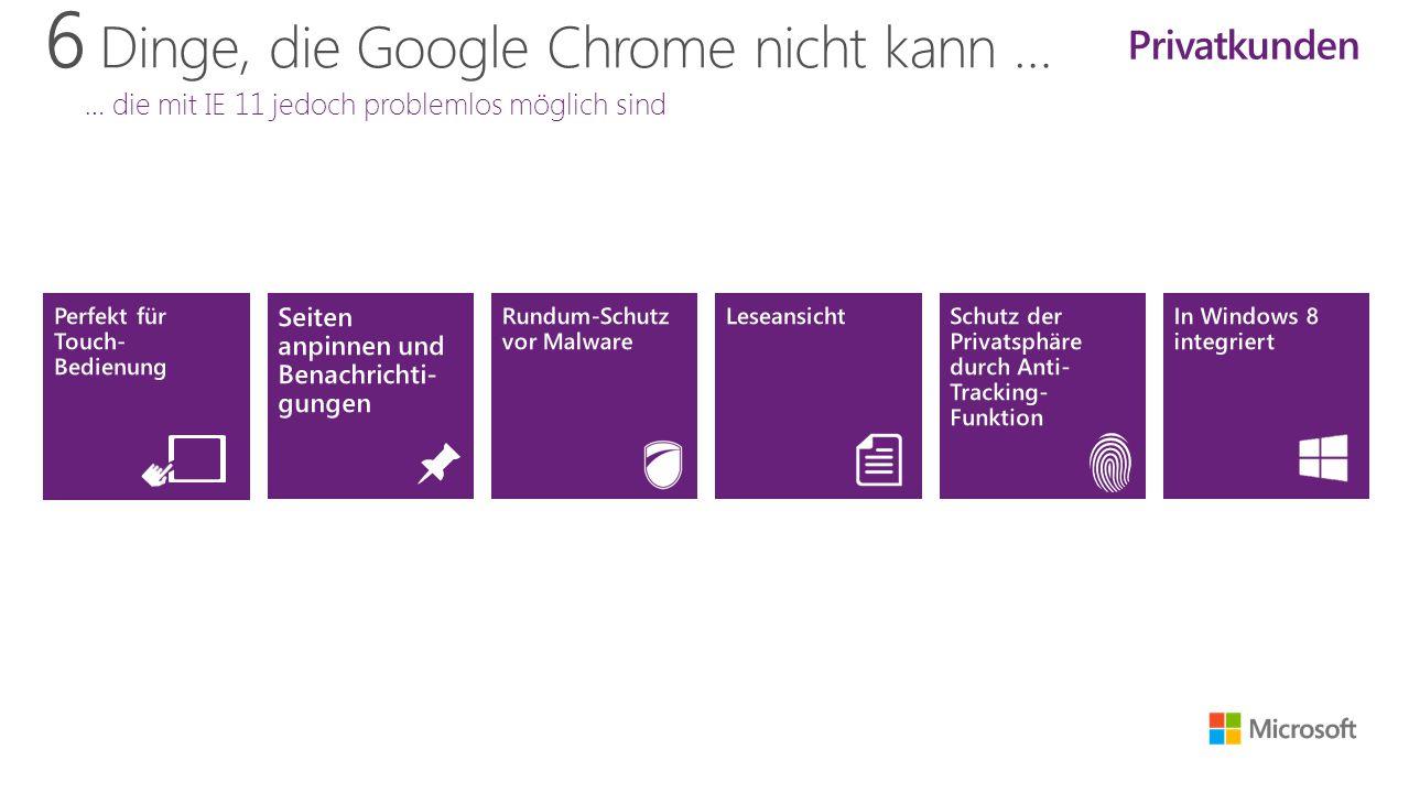 6 Dinge, die Google Chrome nicht kann … … die mit IE 11 jedoch problemlos möglich sind Privatkunden