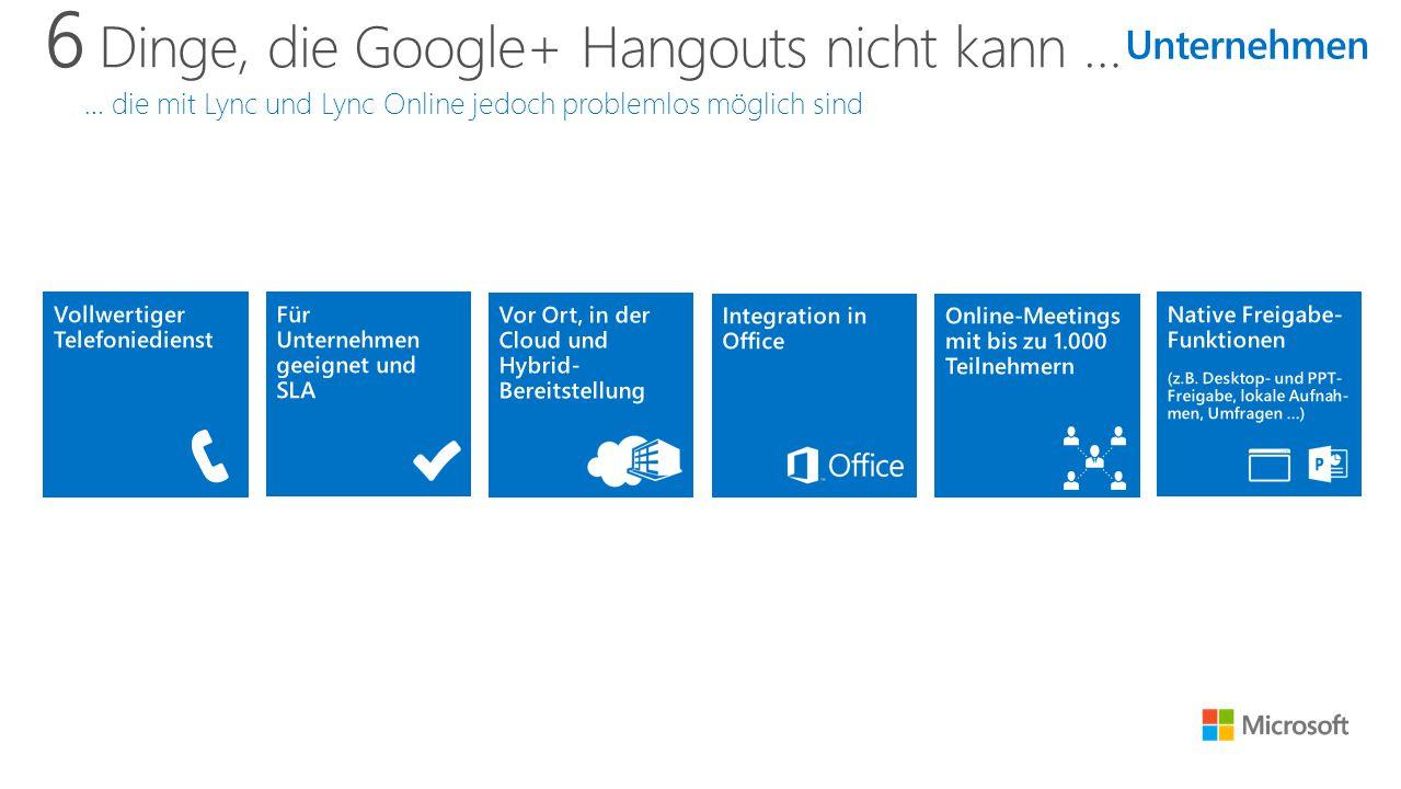 6 Dinge, die Google+ Hangouts nicht kann … … die mit Lync und Lync Online jedoch problemlos möglich sind Unternehmen