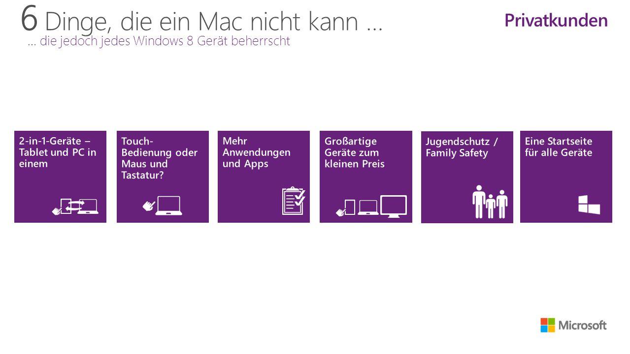 6 Dinge, die ein Mac nicht kann … … die jedoch jedes Windows 8 Gerät beherrscht Privatkunden