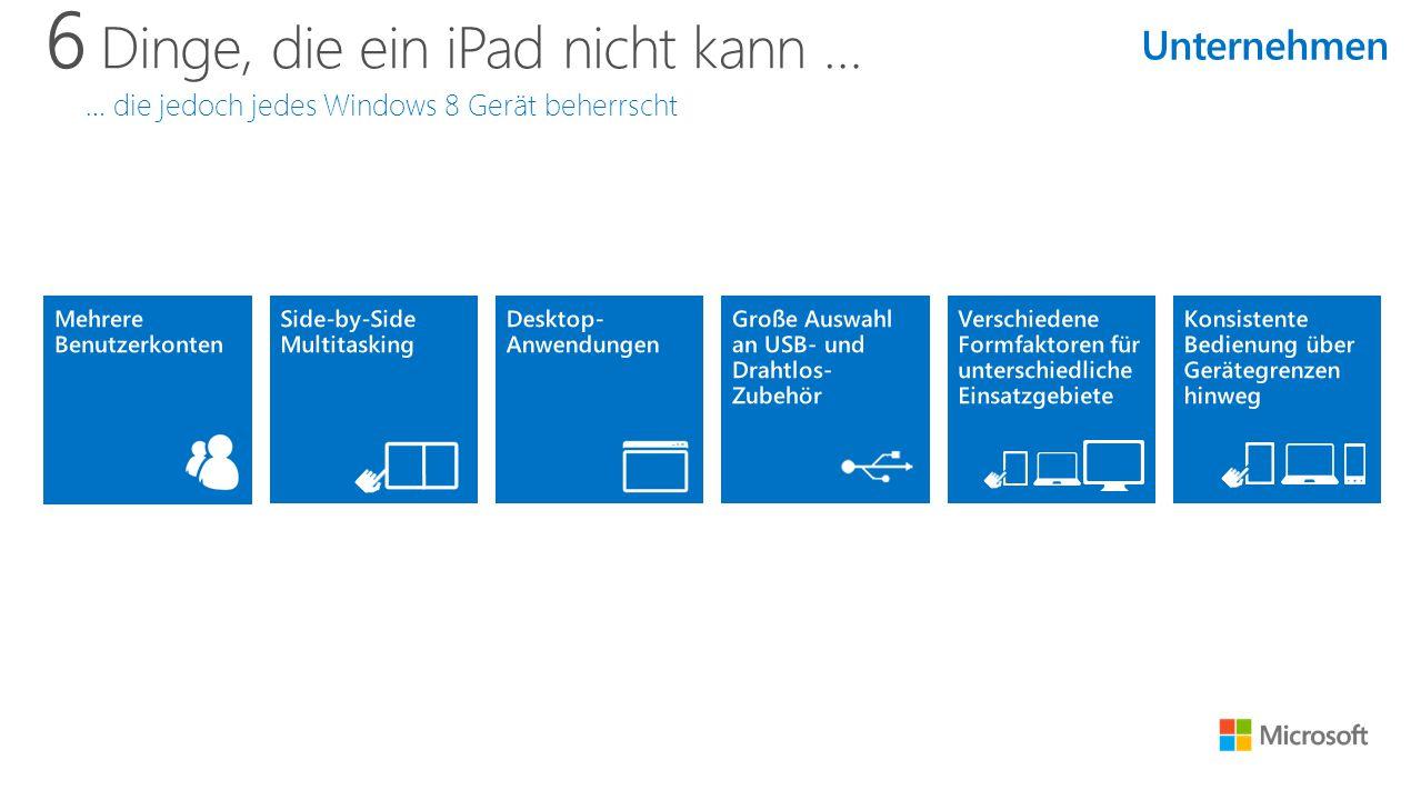 6 Dinge, die ein iPad nicht kann … … die jedoch jedes Windows 8 Gerät beherrscht Unternehmen