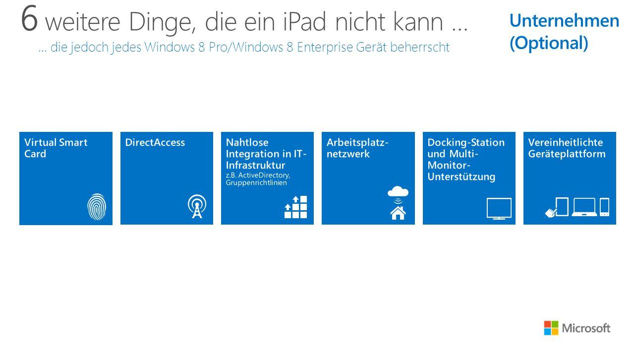 6 weitere Dinge, die ein iPad nicht kann … … die jedoch jedes Windows 8 Pro/Windows 8 Enterprise Gerät beherrscht Unternehmen (Optional)