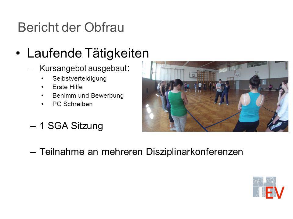 Bericht der Obfrau Laufende Tätigkeiten –Kursangebot ausgebaut : Selbstverteidigung Erste Hilfe Benimm und Bewerbung PC Schreiben –1 SGA Sitzung –Teil