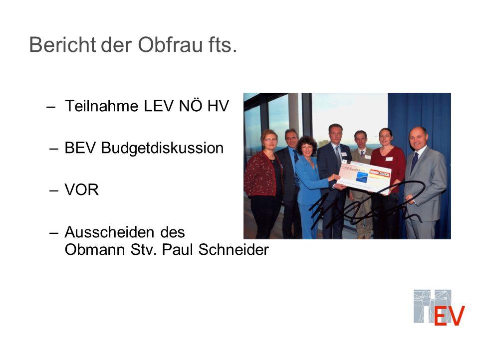 Bericht der Obfrau fts. –Teilnahme LEV NÖ HV –BEV Budgetdiskussion –VOR –Ausscheiden des Obmann Stv. Paul Schneider