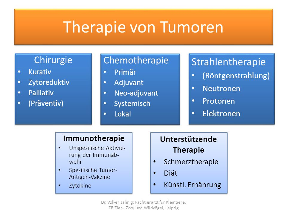 Therapie von Tumoren Chirurgie Kurativ Zytoreduktiv Palliativ (Präventiv) Chirurgie Kurativ Zytoreduktiv Palliativ (Präventiv) Chemotherapie Primär Ad