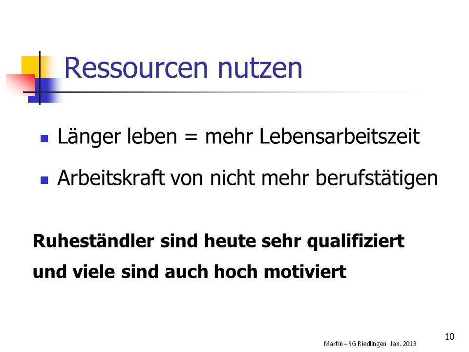 Ressourcen nutzen Länger leben = mehr Lebensarbeitszeit Arbeitskraft von nicht mehr berufstätigen 10 Ruheständler sind heute sehr qualifiziert und viele sind auch hoch motiviert