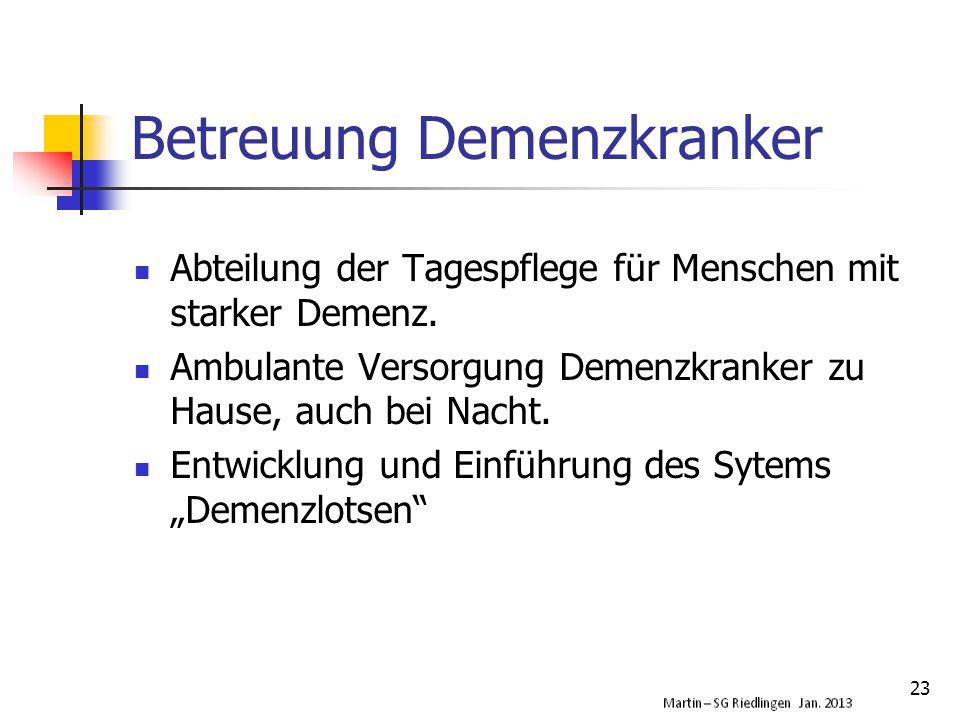 Betreuung Demenzkranker Abteilung der Tagespflege für Menschen mit starker Demenz.