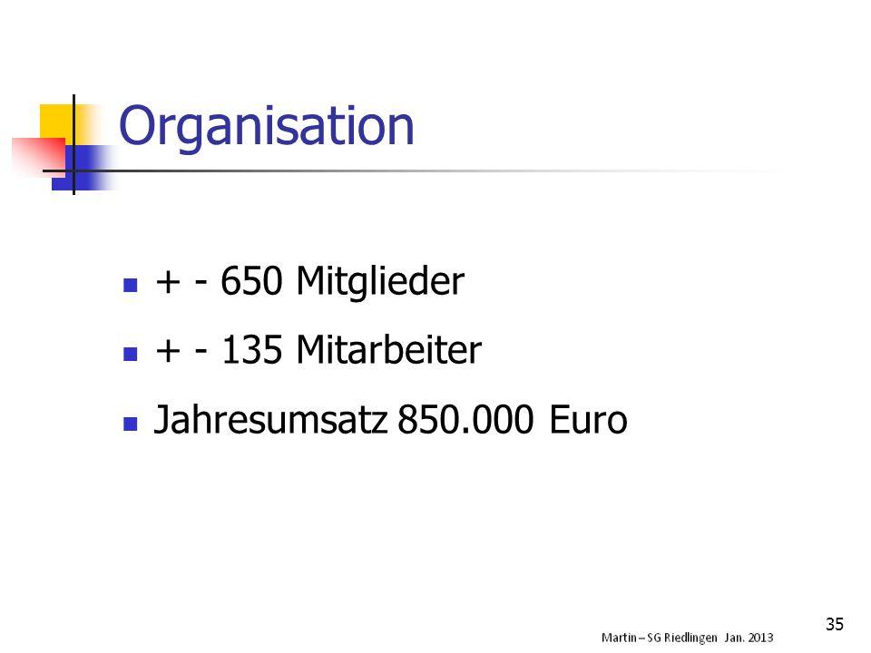 Organisation + - 650 Mitglieder + - 135 Mitarbeiter Jahresumsatz 850.000 Euro 35