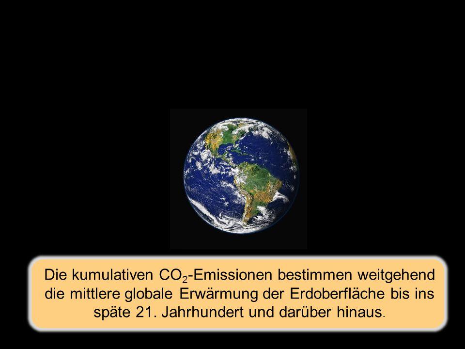 Die kumulativen CO 2 -Emissionen bestimmen weitgehend die mittlere globale Erwärmung der Erdoberfläche bis ins späte 21.