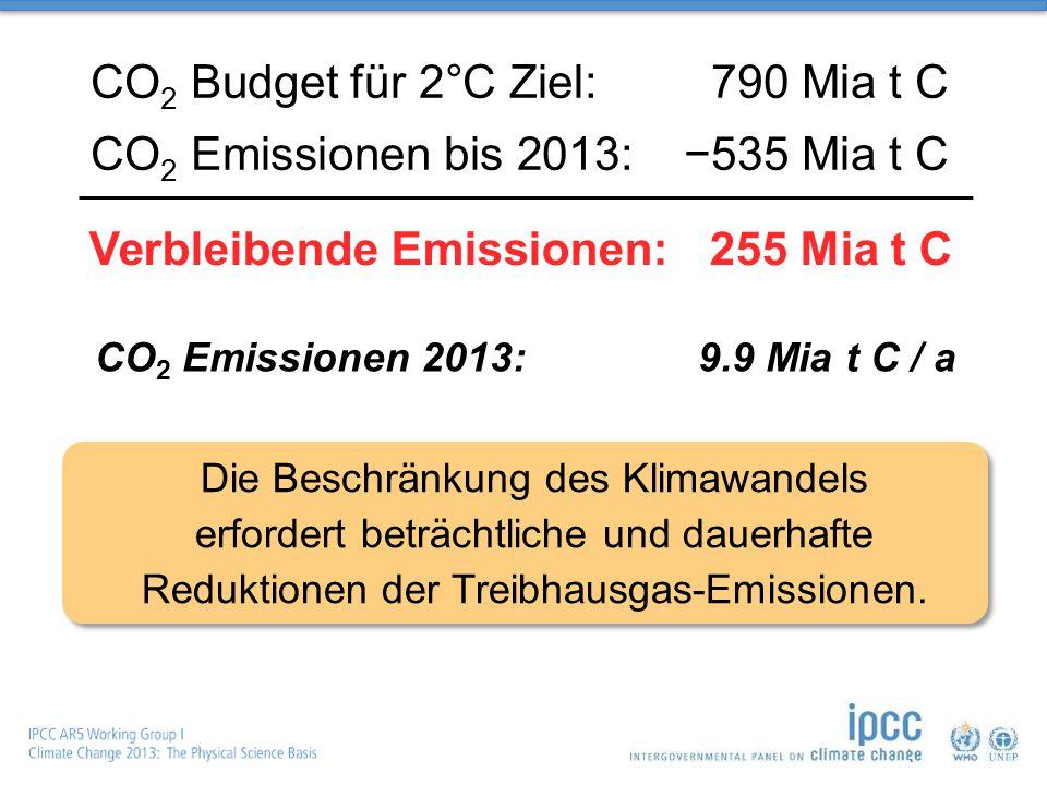 CO 2 Budget für 2°C Ziel:790 Mia t C CO 2 Emissionen bis 2013:−535 Mia t C CO 2 Emissionen 2013:9.9 Mia t C / a Verbleibende Emissionen:255 Mia t C Die Beschränkung des Klimawandels erfordert beträchtliche und dauerhafte Reduktionen der Treibhausgas-Emissionen.