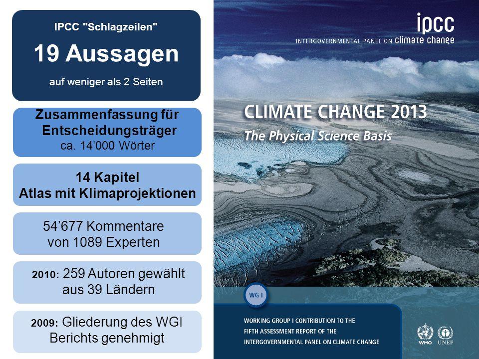 31 2009: Gliederung des WGI Berichts genehmigt 14 Kapitel Atlas mit Klimaprojektionen 54'677 Kommentare von 1089 Experten 2010: 259 Autoren gewählt aus 39 Ländern Zusammenfassung für Entscheidungsträger ca.