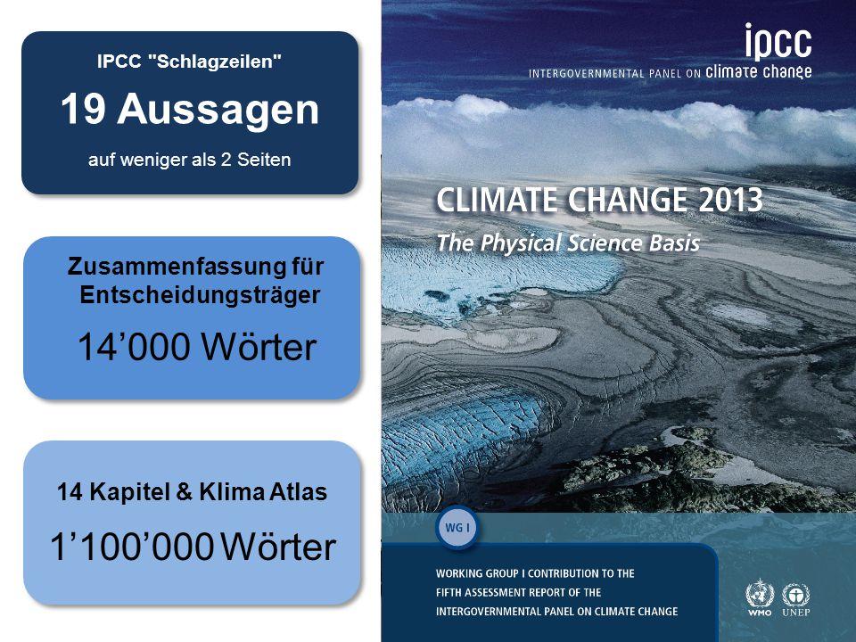 IPCC Schlagzeilen 19 Aussagen auf weniger als 2 Seiten 5 14 Kapitel & Klima Atlas 1'100'000 Wörter Zusammenfassung für Entscheidungsträger 14'000 Wörter