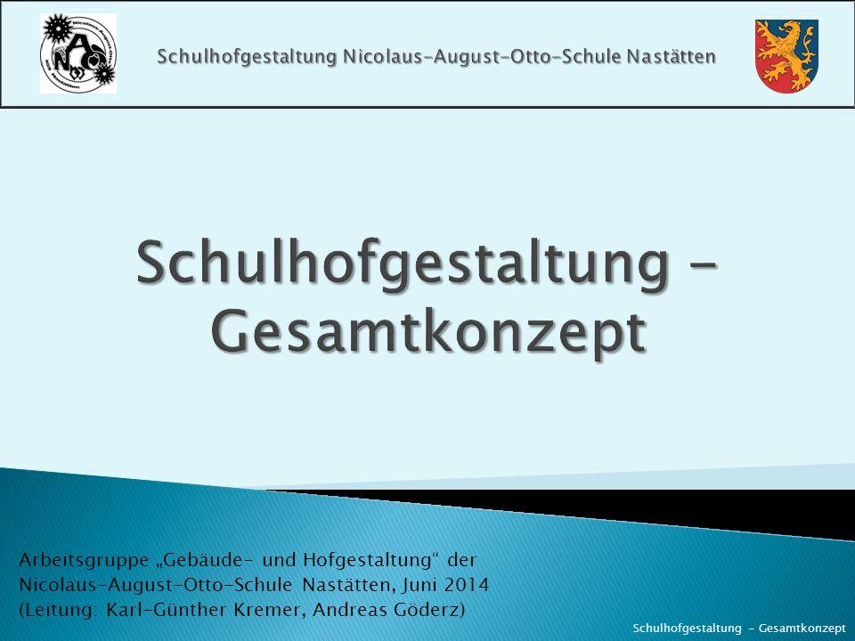 """Arbeitsgruppe """"Gebäude- und Hofgestaltung"""" der Nicolaus-August-Otto-Schule Nastätten, Juni 2014 (Leitung: Karl-Günther Kremer, Andreas Göderz) Schulho"""