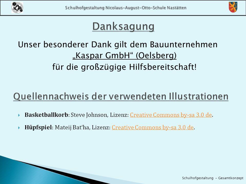 """Unser besonderer Dank gilt dem Bauunternehmen """"Kaspar GmbH"""" (Oelsberg) für die großzügige Hilfsbereitschaft!  Basketballkorb: Steve Johnson, Lizenz:"""
