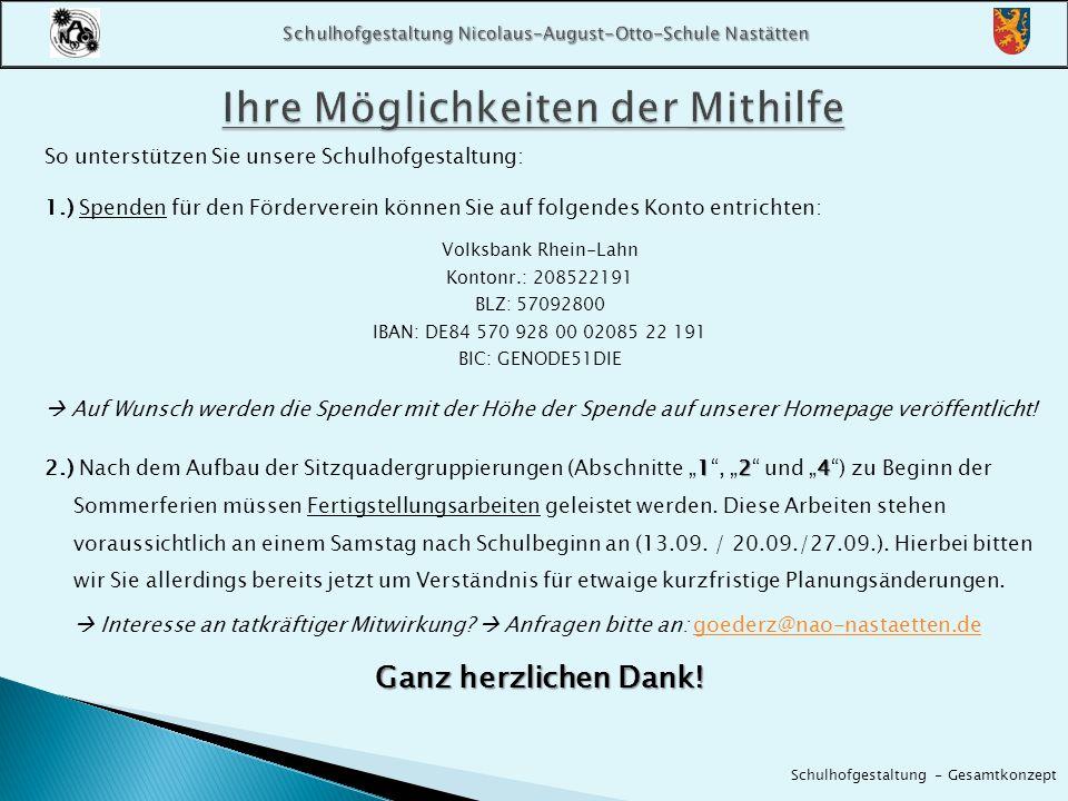 So unterstützen Sie unsere Schulhofgestaltung: 1.) Spenden für den Förderverein können Sie auf folgendes Konto entrichten: Volksbank Rhein-Lahn Konton