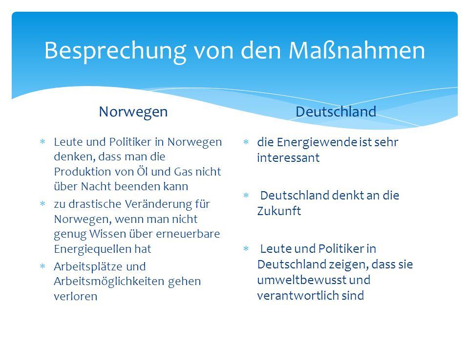  Deutschland hat auf jeden Fall einen großen Schritt in die richtige Richtung gemacht  Deutschland hat eine große Änderung in der deutschen Energie-und Klimapolitik hervorgerufen  im Vergleich zu Deutschland, ist Norwegen noch nicht gezwungen oder bereit, diese drastischen Veränderungen durchzuführen Konklusion