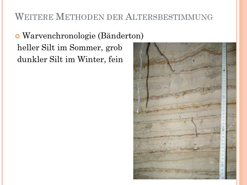W EITERE M ETHODEN DER A LTERSBESTIMMUNG Warvenchronologie (Bänderton) heller Silt im Sommer, grob dunkler Silt im Winter, fein