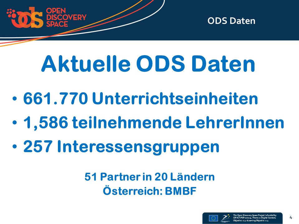 The Open Discovery Space Project is funded by CIP-ICT-PSP-2011-5, Theme 2: Digital Content, Objective 2.4: eLearning Objective 2.4 ODS Daten 4 Aktuell