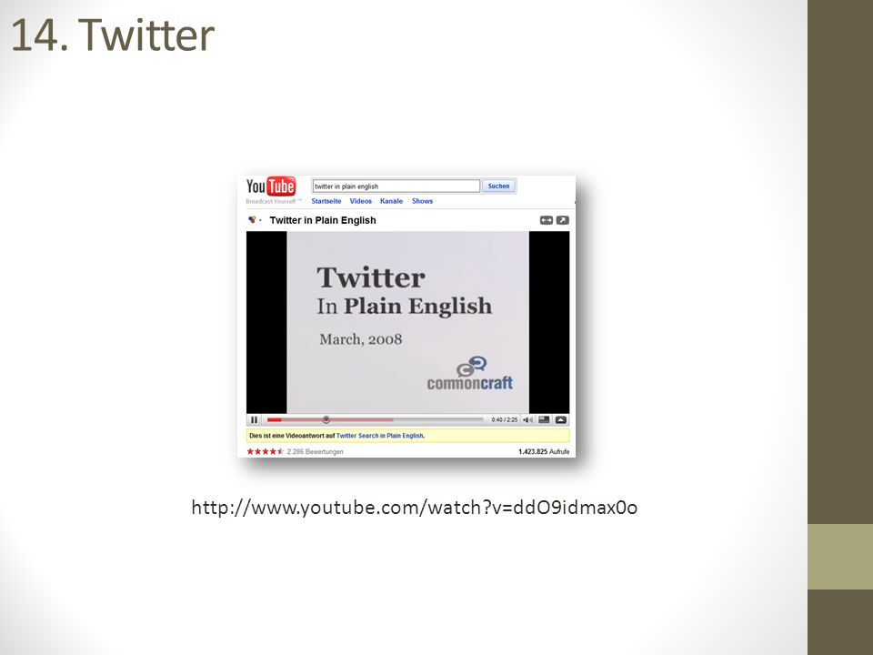 14. Twitter http://www.youtube.com/watch?v=ddO9idmax0o