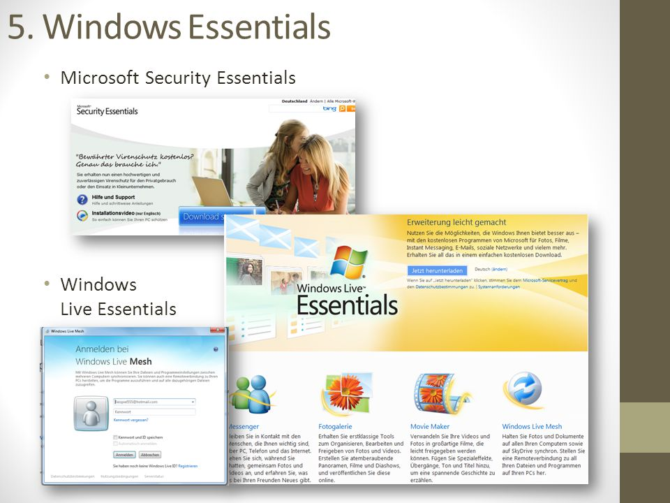 5. Windows Essentials Microsoft Security Essentials Windows Live Essentials