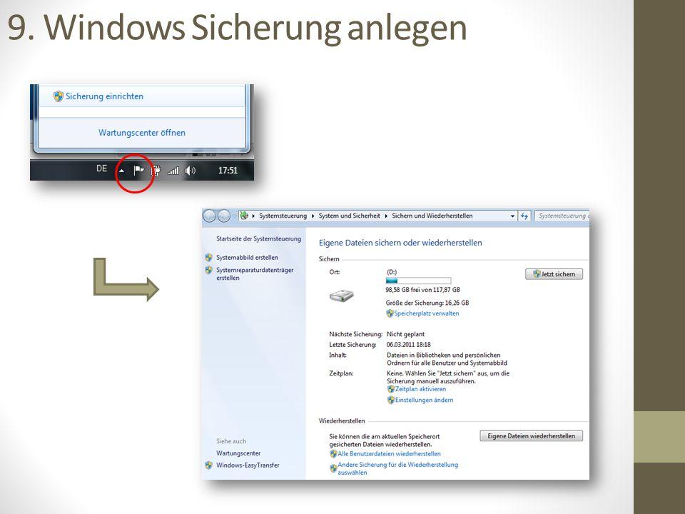 10.Zusatzsoftware installieren Java Flash Avira AntiVir PortableApps LibreOffice ggf.